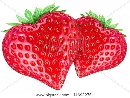 Two strawberry hearts. Isolated on a white background. Clipping path.