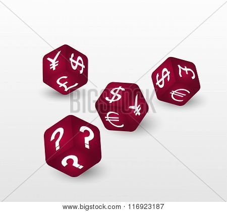 Red dices with symbols of euro, dollar, pound, yuan,  yen and question. Vector illustration.