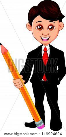 vector illustration of Businessman holding a pencil