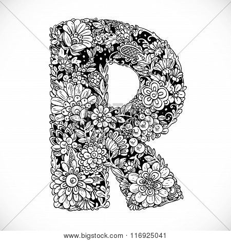 Doodles Font From Ornamental Flowers - Letter R. Black And White