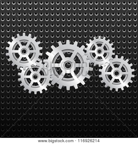 Background with shiny metallic gears