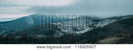 Rainy Clouds Above Mountain Ridge