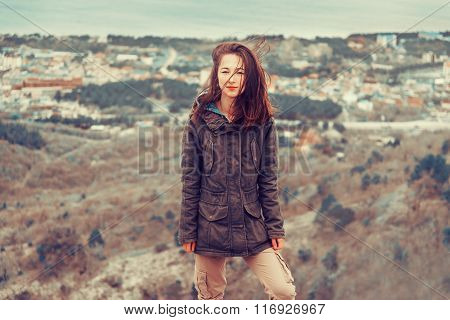 Woman In Parka Jacket Outdoor