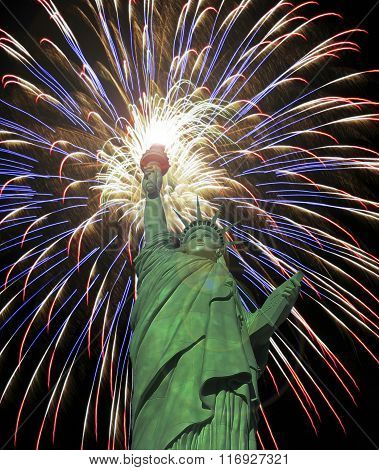 A Statue Of Liberty Fourth Of July Fireworks Celebration