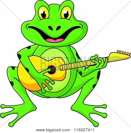 vector illustration of Frog singing with guitar