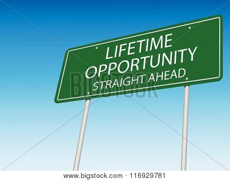 Lifetime Opportunity Vector Road Sign