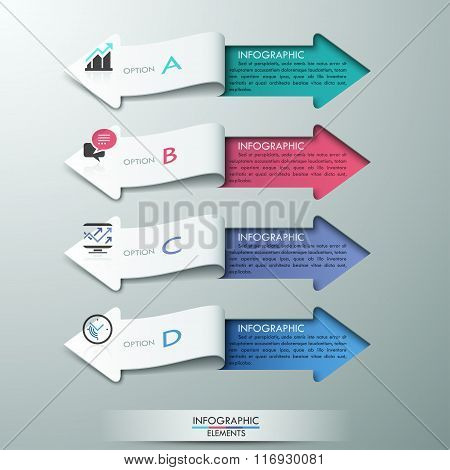Modern paper arrow style options banner