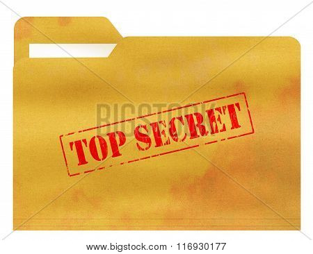 Top Secret  Old and Stained File Folder Isolated on White Background