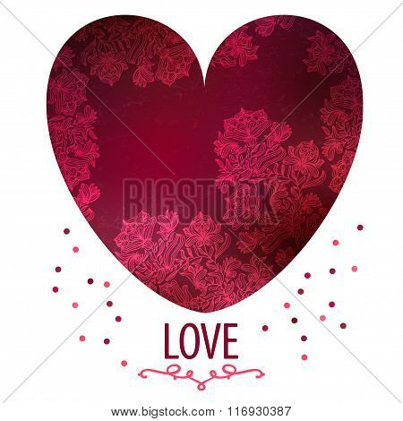 Fowers arranged in a shape of the heart.Vector illustration