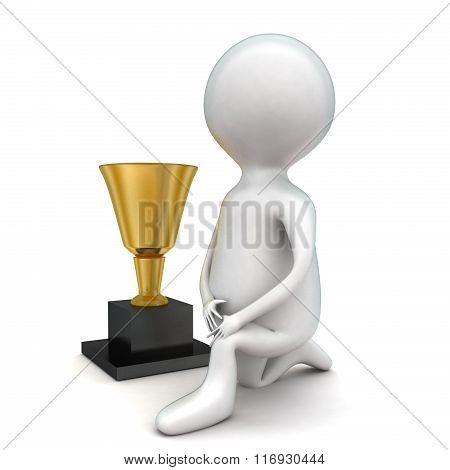 3D Man With Golden Trophy Concept