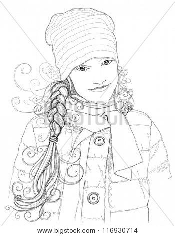 Portrait of an attractive girl. Linear vector black & white illustration