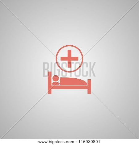 Hospital Bed. Flat Design Style.