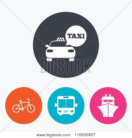 Transport icons. Taxi car, Bicycle, Bus and Ship