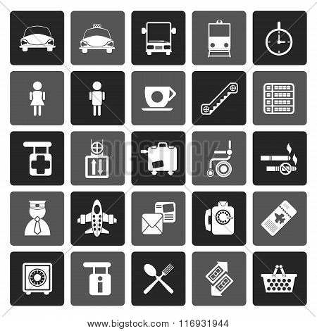 Flat Airport, travel and transportation icons