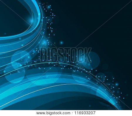 Abstract wavy dark blue background with swirly lines and glitter.