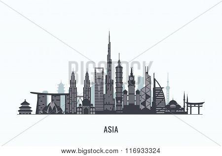 Asia skyline silhouette. Travel and tourism background.