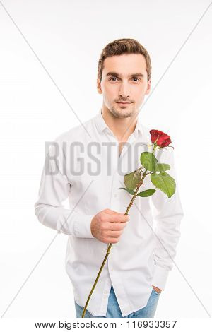 Portrait Of Handsome Cute Sexy Boy With Red Rose