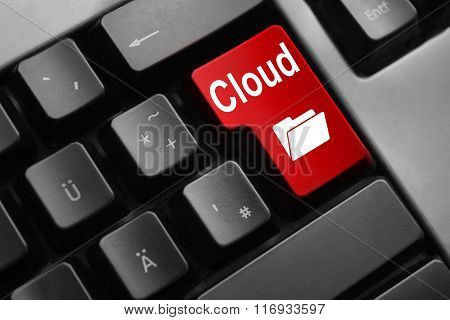 Keyboard Red Button Cloud Backup