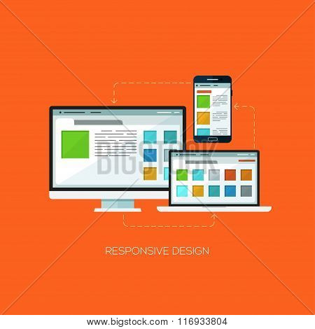 Responsive design flat web infographic technology online service application internet business conce