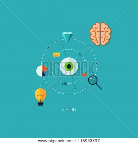 Creative process vision flat web infographic technology online service application internet business