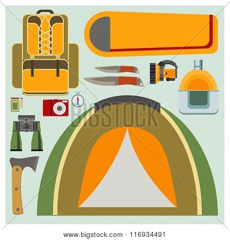 Vector Set Flat Camping Elements