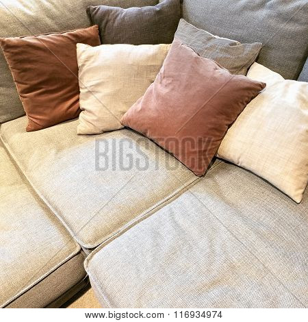 Cozy Corner Sofa With Lots Of Cushions