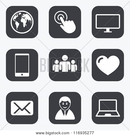 Web, mobile devices icons. Share, mail signs.