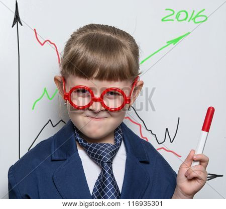 Director Shows A Graph Of Growth