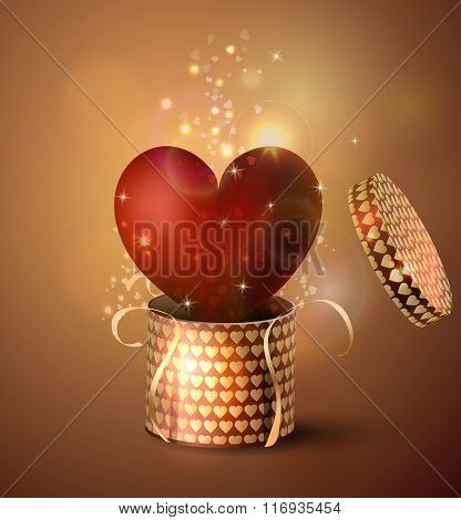 Box With Heart in retro style