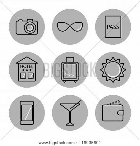 Travel icons on white background.
