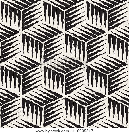 Vector Seamless Black And White Hand Painted Line Geometric Cube Rough Engraving Pattern