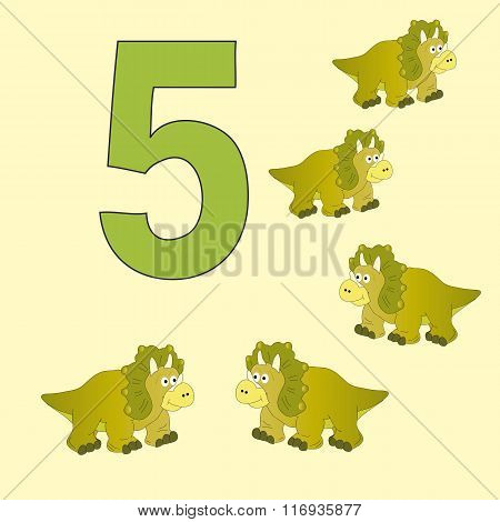 The Number 5. Five Dinosaurs (triceratops ).