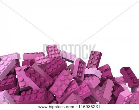 3D rendering of toy building bricks in purple pink shades with lots of copy space