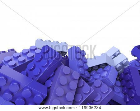 3D rendering of toy building bricks in lilac shades with lots of copy space