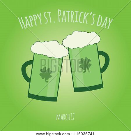 Happy Saint Patrick Day Card With Glass Of Green Irish Beer