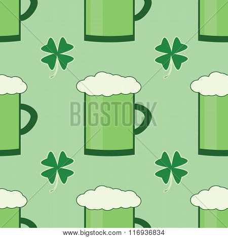 Seamles Patrick Day Pattern With Glass Of Green Irirsh Beer And Shamrock