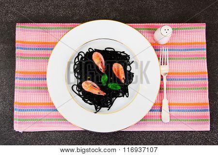 Black Spaghetti with Cuttlefish Ink, Prawns and Basil. Mediterra