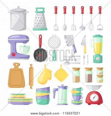 Kitchen dishes vector flat icons isolated on white background. Kitchen sign tools, kitchen tools. Everyday dishes icons. Kitchen symbols isolated