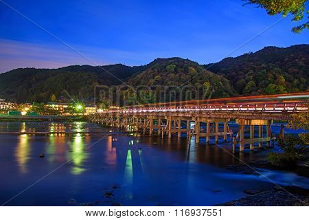 Togetsukyo Bridge And Katsura River At Dusk In Arashiyama