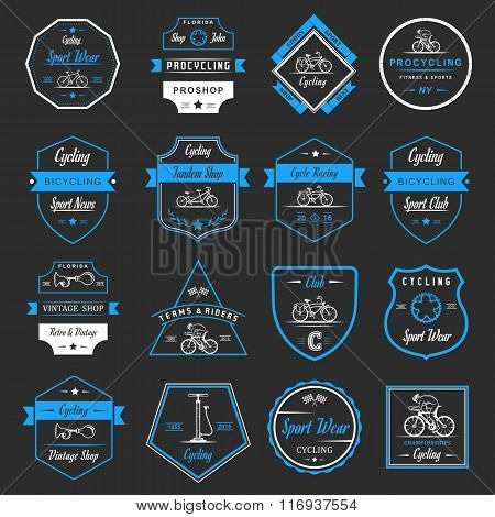 Set of vintage modern and retro logo badges and labels bicycle pro bike shop equipment and club. Cycling typographic sign icons and old emblems - Stock Vector