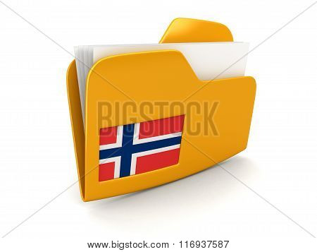 folder and lists with Norwegian Flag. Image with clipping path