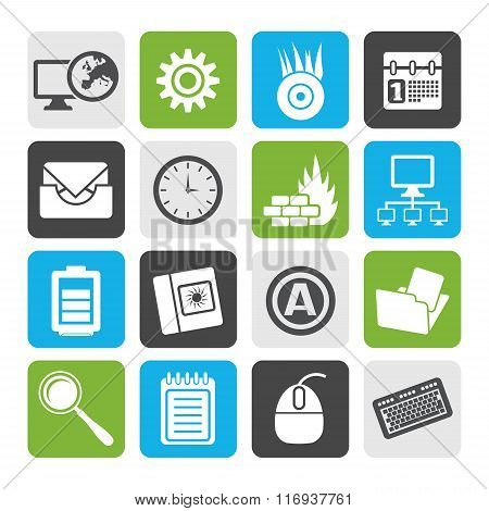 Flat Computer, mobile phone and Internet icons