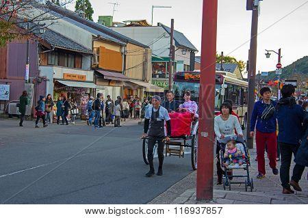 Japanese People Take  Rickshaw For Sightseeing Arashiyama