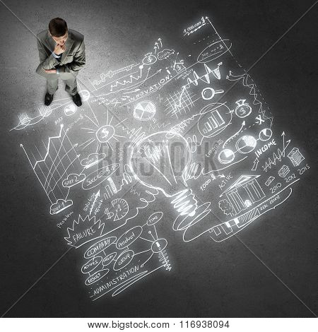 Thoughtful businessman from top view