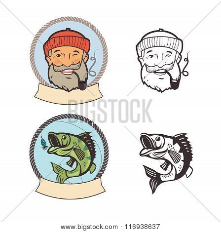 Fish On A Fishing Hook And Sailor With Pipe. Portrait Character. Fishing Vector Labels. Fishing Logo Set. Old Sailor Picture. Old Sailor Hat. Sailor Pipe Smoking. Old Sailor With Pipe Painting.