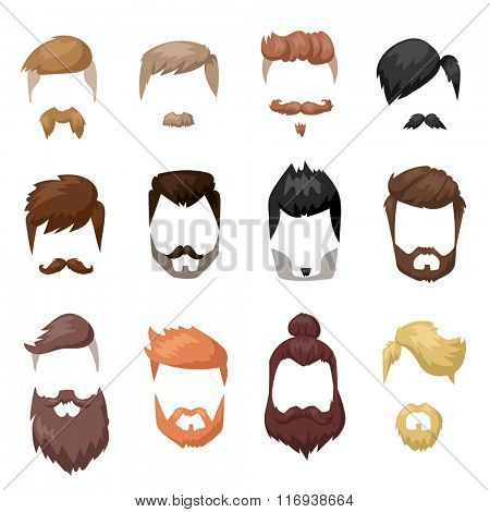 Hairstyles beard and hair face cut mask flat cartoon collection. Vector male beard hair illustration. Flat hair and beards fashion style