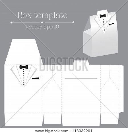 Vector Tuxado Box Template. White Color