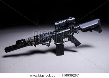 Automatic Rifle With Silencer And Optical Scope.