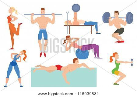 Cartoon sport gym people group exercise on fitness ball. Sport gym fitness people isolated on white background. Gym people, sport activity