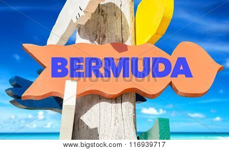 Bermuda welcome sign with beach